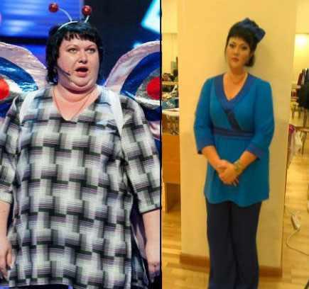 На фото Ольга Картункова до и после похудения